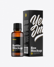 Amber Bottle w/ Box Mockup