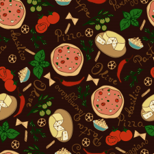 Hand drawn seamless pattern with italian food