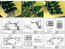 Проект стеклянной двухпролетной лестницы. 3D моделирование узлов