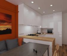 Проект кухні студії для однокімнатної квартири