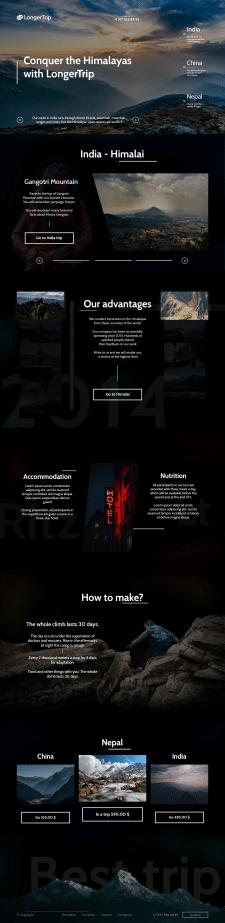 Уникальный дизайн сайта для тур фирмы с вёрсткой
