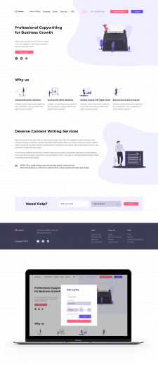 Web design, main page for Copywriting Agency