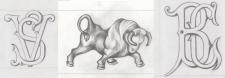 Монограммы для камина с быком