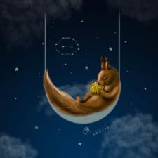 Иллюстрация Белка с золотым орехом