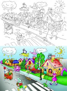 Раскраска для детской книжки по контурам