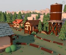 Village. 3D low poly.