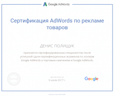 Сертификат специалиста Google AdWords Shopping