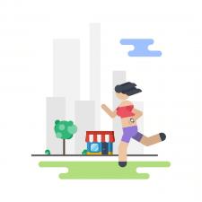 Здоровый образ жизни - иллюстрация для анимации