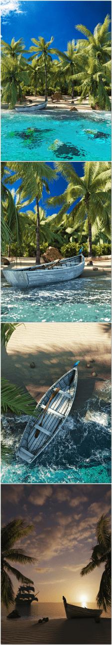 Пляж на острове в Карибском море