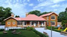 Визуализация фасада дома из бруса