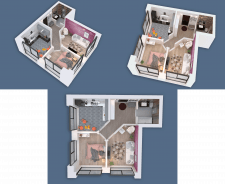 3D visualization of a two-room apartment NEW-3