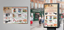 Плакат и газета с акциями магазина