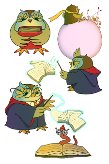 Reading owl for Fluffy stickershop