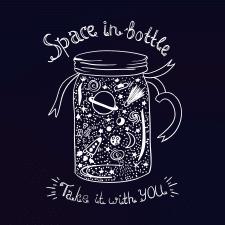 Векторная иллюстрация Space in bottle
