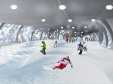 Интерьер спуска крытого горнолыжного комплекса