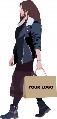 Флэт иллюстрация женщины с бумажным пакетом