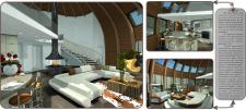 Дизайн интерьера стратодезического купольного дома