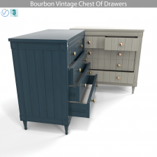 Bourbon Vintage Chest Of Drawers, Grey and Dark Bl