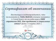 """Сертифікат """"SMM стратегія від WebPromoExperts"""""""