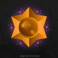Magic gold star - vector illustration - 2021