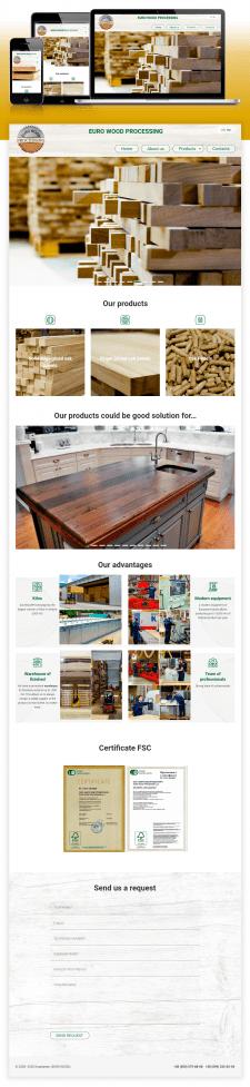 Сайт видитка для деревообрабатывающей фабрики