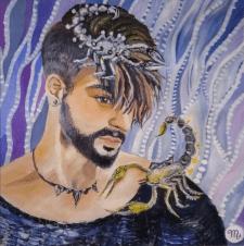 """Живопись, мужской портрет """"Царь скорпион"""""""