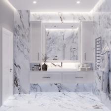 3D визуализация интерьера ванной комнаты.