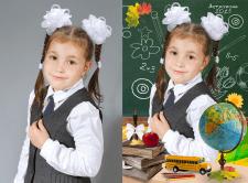 Обтравка и монтаж школьного портрета.