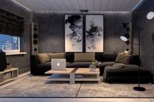 Маленькая уютная комната для просмотра фильмов