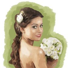 "Портрет  ""Девушка с цветами"" (нарисован на планшет"