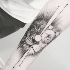 тату лев tattoo lion