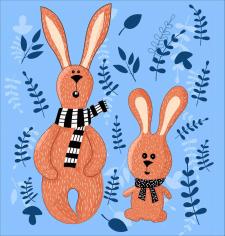 """Иллюстрация """"Заец и кролик"""""""