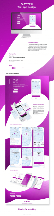 Taxi app design / Landing page