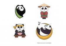 Векторные иллюстрации на основе биоформы (панды)