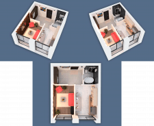 3D visualization of a one-room apartment NEW-3