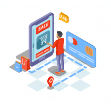 Онлайн шоппинг - изометрия