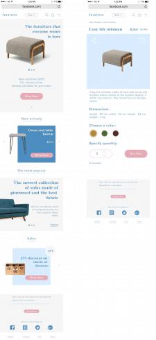 Дизайн главной и корзины магазина (моб. версия)