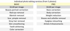 Прайс индивидуальная обработка и ретушь фото