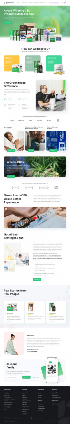 E-commerce Green Roads Home page