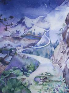 Ночь в Гималаях. Акварель