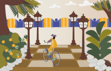 """Ілюстрація """"Садівник на велосипеді"""""""