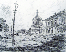 Зарисовка города карандашом