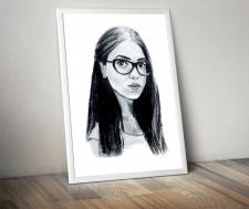 портрет девушки, акварель