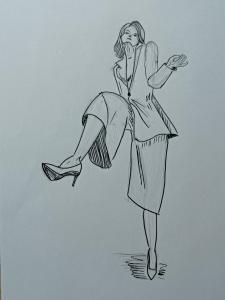 Fashion illustration девушки в скетчевой технике