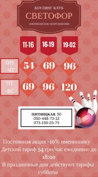 Дизайн визитки боулинг клуба (тарифы)