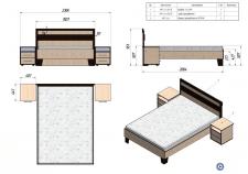 Кровать с спальнім местом 1,6х2,0м и двумя прикров