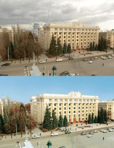 Фото Харьковского облсовета до обработки и после