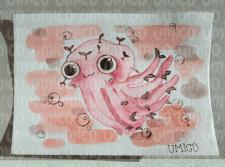 Осьминожка акварелью