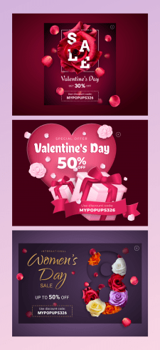 Дизайн поп-апов ко Дню Святого Валентина и 8 марта