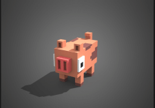 3D pig Pixel Art